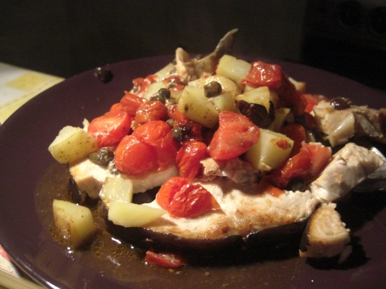 Swordfish with tomatoes, capers and black olives