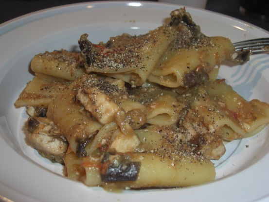 Pasta with swordfish and eggplant